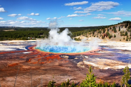 Grand Prismatic Spring In Yellowstone National Park 版權商用圖片
