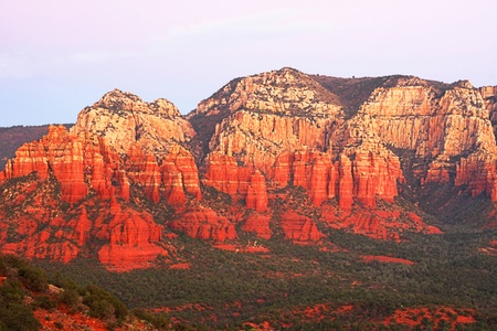 sedona: Sunset in Oak Creek Canyon in Sedona Arizona