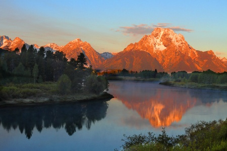 Sunrise at Oxbow Bend at Grand Teton National Park in Wyoming Stock Photo