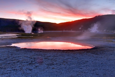 thermal spring: Biscuit Basin In Yellowstone National Park at sunset