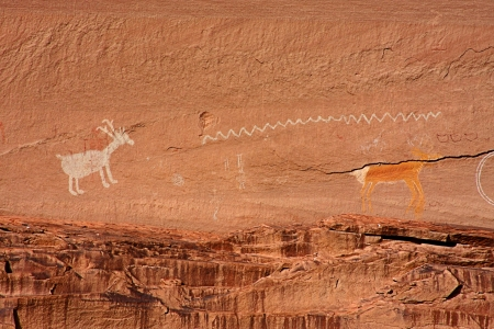 southwestern: Ancient Anasazi and Navajo Pictographs in Canyon de Chelly National Park in Arizona Stock Photo