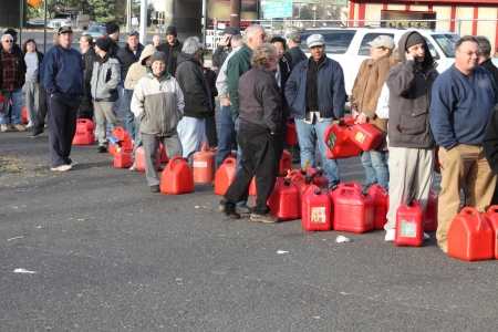 petrol can: People waiting in line to get gas after Hurricane Sandy in New Jersey