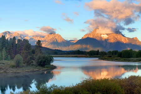 oxbow: Sunrise at Oxbow Bend at Grand Teton National Park in Wyoming Stock Photo