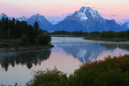 oxbow bend: Sunrise at Oxbow Bend at Grand Teton National Park in Wyoming Stock Photo