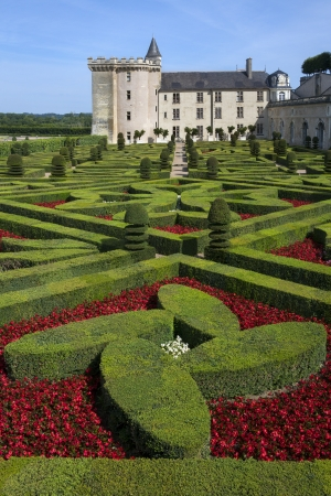 The 16th century chateau and gardens of Villandry in the Loire Valley in France