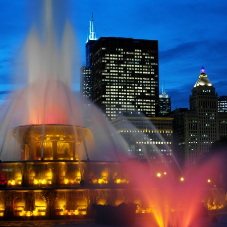 Buckingham Memorial Fountains in Grant Park on the shore of Lake Michigan in Chicago, Illinois, United States of America  photo
