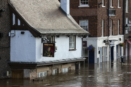 inundated: The River Ouse floods the streets of central York in the United Kingdom.  September 2012.