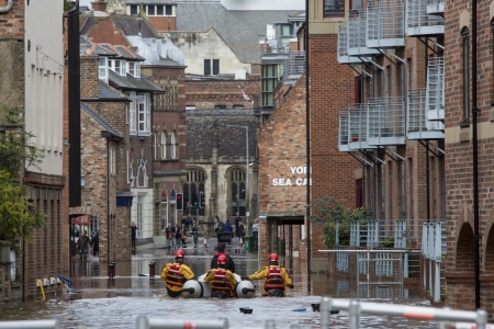 The River Ouse floods the streets of central York in the United Kingdom.  September 2012.