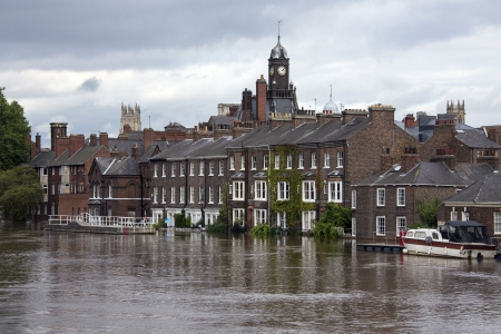 ouse: The River Ouse floods the streets of central York in the United Kingdom.  September 2012.