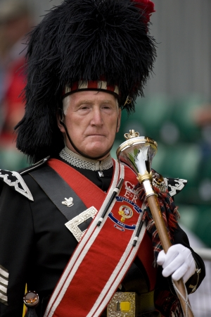 scots: Pipe Major at the Cowal Gathering Highland Games near Dunoon on the Cowal Peninsula in Scotland.