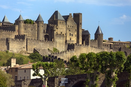 walled: The medieval fortress and walled city of Carcassonne in the Languedoc-Roussillon region of south west France. Founded by the Visigoths in the fith century, it was restored in 1853 and is now a UNESCO World Heritage Site.