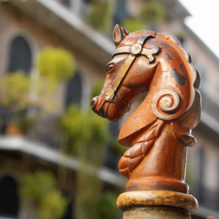 Horses head design on railings in Bourbon Street in the French Quarter of New Orleans in Louisiana, United States of America Stockfoto
