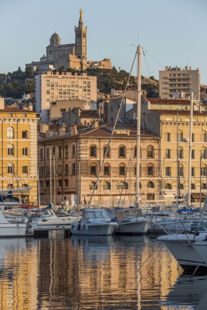 Late afternoon sunlight on the port of Marseille on the French Riviera