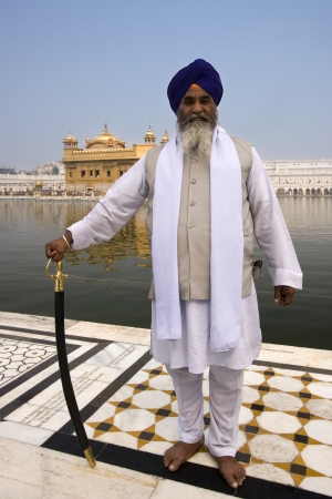 sikhism: Sikh man at the Golden Temple in Amritsar in the Punjab region of India.