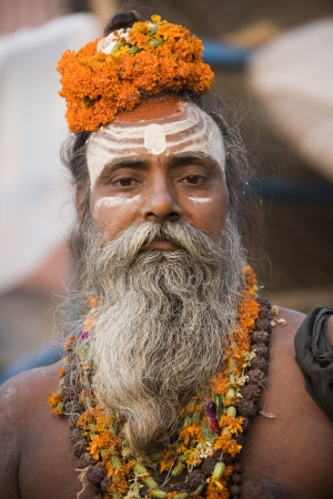 Hindu Sadhu (holy man) on the Hindu Ghats in Varanasi in the Uttar Pradesh region of India. Stock Photo - 20511130