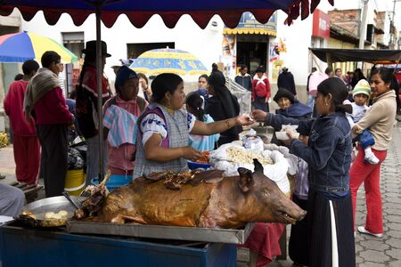 ecuadorian: Food stall on Otavalo Market in northern Ecuador in South America