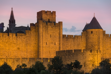 ramparts: Medieval fortress and walled city of Carcassonne in south west France. Founded by the Visigoths in the fith century, it was restored in 1853 and is now a UNESCO World Heritage Site.