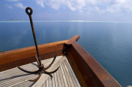 ari: Anchor on the bow of a boat in South Ari Athol in the Maldives in the Indian Ocean