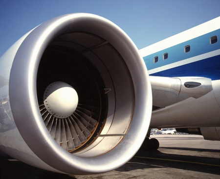 Aviation - A large Turbofan jet engine on a commercial airliner photo