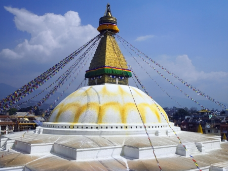 holiest: Bouddhanath or Baudhanath or the Khasa Caitya, is one of the holiest Buddhist sites in Kathmandu in Nepal  Editorial