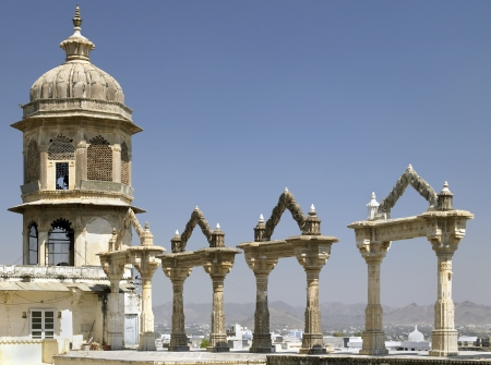 rajput: Archways at the City Palace in Udaipur in Rajasthan in western India  Editorial