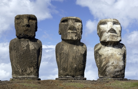 Ancient Moai on remote Easter Island in the South Pacific  Easter Island is now a part of Chile  photo