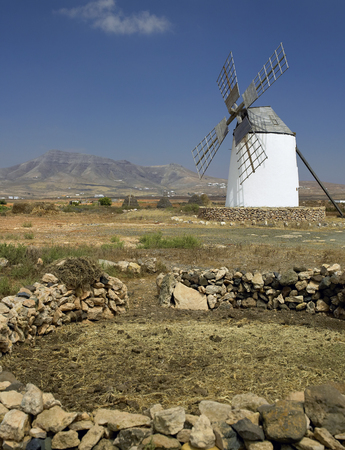 canarias: Windmill at Los Mollinoson on the island of Fuerteventura in the Canary Islands  The Canary Islands  Islas Canarias  are a part of Spain