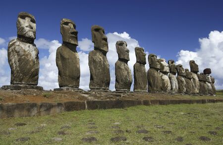 monolith: Ancient Moai on remote Easter Island in the South Pacific  Easter Island is now a part of Chile
