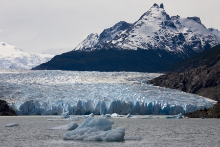 paine: The Grey Glacier in Torres del Paine National Park in the Southern Patagonian Ice Field in Patagonia, southern Chile Stock Photo