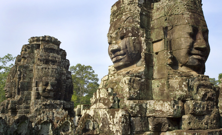iconography: Bayon Temple near Angkor Wat in Cambodia in South East Asia  This is a well-known and richly decorated Khmer temple at Angkor and was built in the late 12th century or early 13th century  Stock Photo