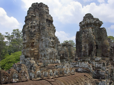 Angkor Wat - Cambodia  The Bayon Temple near Angkor Wat in Cambodia in South East Asia  This is a well-known and richly decorated Khmer temple at Angkor and was built in the late 12th century or early 13th century  photo