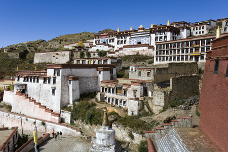 gelugpa: Ganden Monastery in Tibet  Ganden is the one of the most important Gelugpa Buddhist monasteries and is high in the Himalayas at an altitude of 4500m  14,760ft