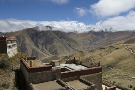 gelugpa: Ganden Monastery in Tibet  Ganden is the one of the most important Gelugpa monasteries and is high in the Himalayas at an altitude of 4500m  14,760ft