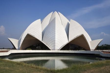 The lotus domed Baha-i House of Worship - Delhi - India