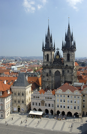 tyn: Gothic Tyn Church in the Old Town Square in the city of Prague in the Czech Republic in central Europe