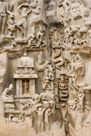 bass relief: Monolithic bass relief know as Bhagirathas Penance or Arjunas Penance in Mahabalipuram in the Tamil Nadu region of southern India. Stock Photo