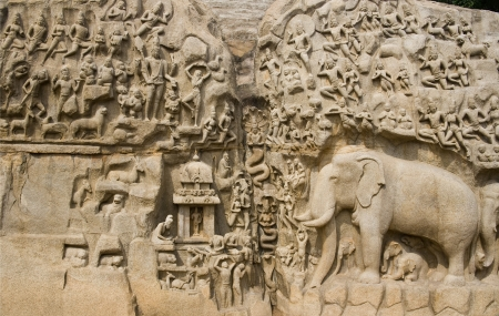 bass relief: Monolithic bass relief know as Bhagirathas Penance or Arjunas Penance in Mahabalipuram in the Tamil Nadu region of southern India  Stock Photo