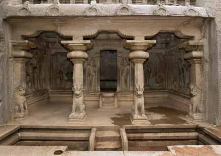mahabalipuram: Krishna Mandapa Hindu Cave Temple in Mahabalipuram in the Tamil Nadu region of southern India  Stock Photo