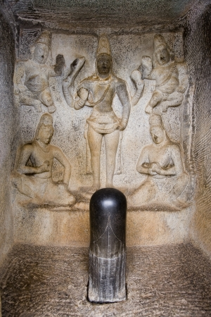 phallus: A Lingam in Krishna Mandapa Hindu Cave Temple in Mahabalipuram in the Tamil Nadu region of southern India  A Lingam or Linga is a phallic object worshiped as a symbol of Shiva  Stock Photo