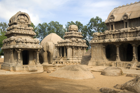 monolithic: Monolithic temples of the Panch Rathas in Mahabalipuram in the Tamil Nadu region of southern India    Stock Photo