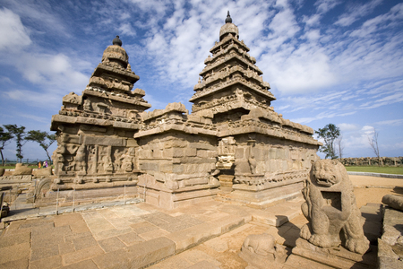 monolithic: Monolithic temples of the Shore Temple near Mahabalipuram in the Tamil Nadu region of southern India