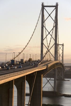 The Forth Road Bridge across the Firth of Forth near Edinburgh in Scotland  UK   Viewed from North Queensferry