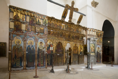 barnabas: Greek Orthodox religious icons in the Monastery of St  Barnabas in The Turkish Republic of Northern Cyprus Editorial