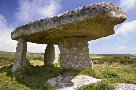 grave site: Lanyon Quoit Prehistoric Stones in Cornwall in the United Kingdom  The stones of this ancient grave site were originally at the centre of a huge burial mound 90ft x 40ft  They were erected in circa 2500BC  Stock Photo