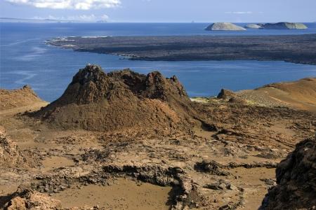 bartolome: Volcano on the island of Bartolome in the Galapagos Islands - Ecuador Stock Photo