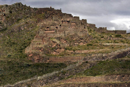 sacred valley of the incas: Inca ruins and terraces at Qantus Raqay in the Sacred Valley of the Incas in Peru
