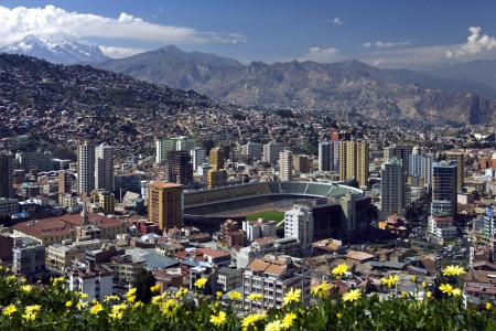 mirador: The city of La Paz high in the Andes Mountains in Bolivia - viewed from Mirador Kilikili