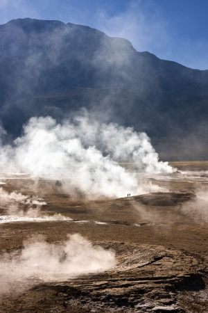 geysers: Geysers and geo-thermal steam vents at the El Tatio Geyser Field at 4500m  14764ft  in the Atacama Desert in northern Chile Stock Photo