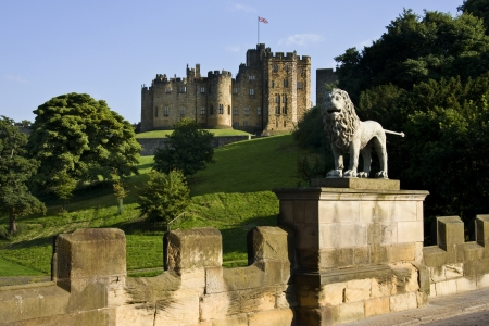 Alnwick Castle in the town of Alnwick in Northumberland in North East England  Dates from 1096AD when Yves de Vescy became Baron of Alnwick and erected the earliest parts of the castle  Since 1309 the castle has been in the hands of the Percy Family who a