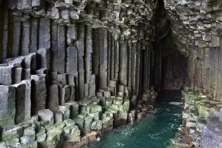 rock formation: Basalt rock formation and Fingals Cave on the island of Staffa, Scotland  Stock Photo